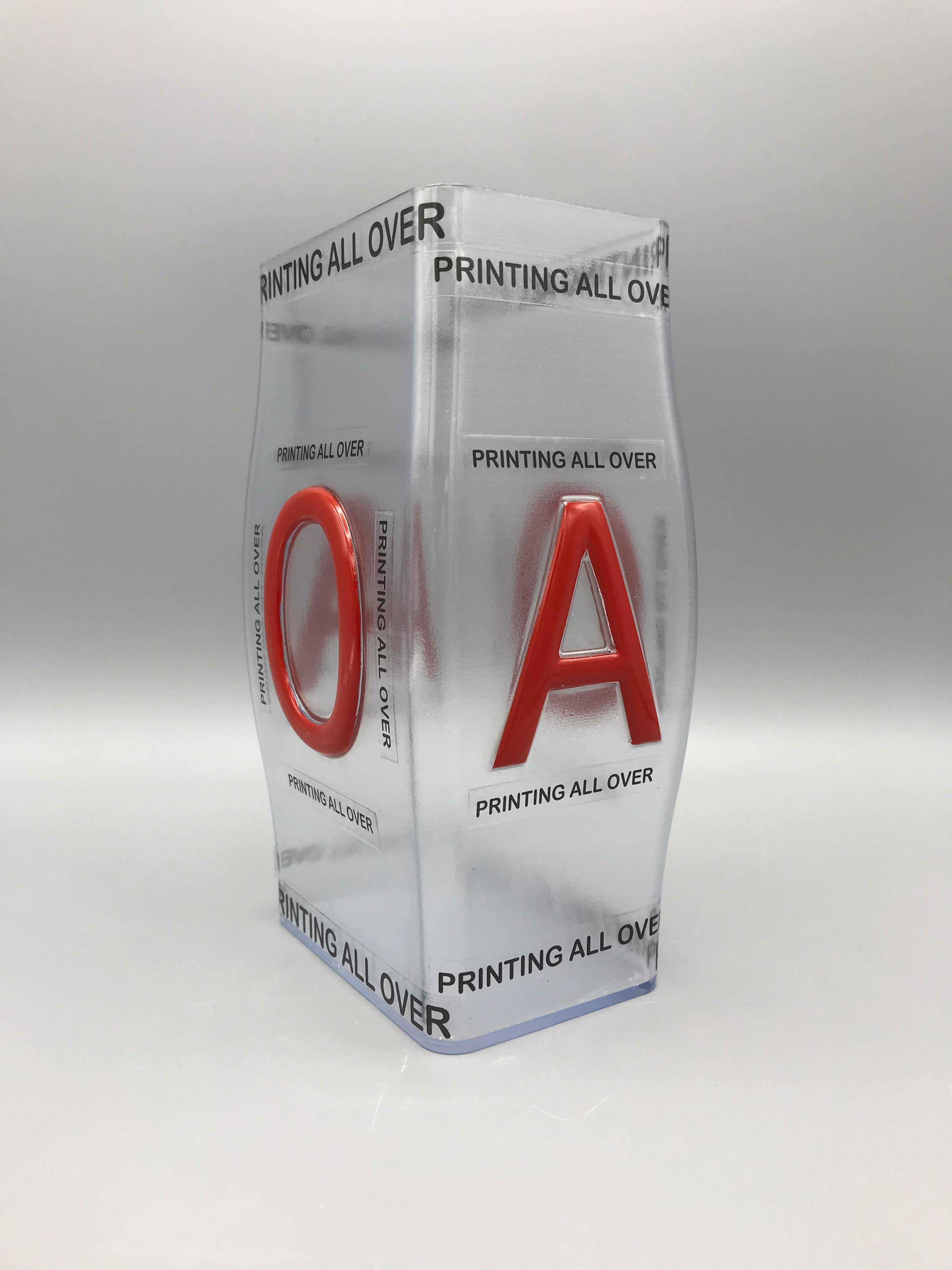 Prototype transparante doos met opdruk 3D print in doorzichtige epoxy