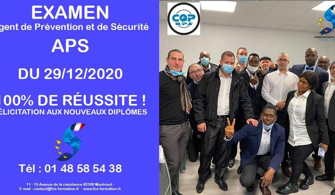 EXAMEN APS – Agent de Prévention et de Sécurité du 29-12-2020