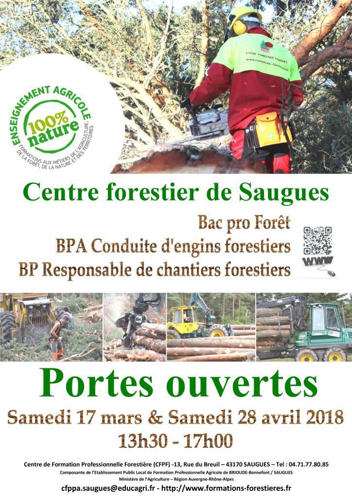 Portes-ouvertes au lycée et centre forestier de Saugues les samedis 17 mars et 28 avril 2018 (13h30 - 17h)
