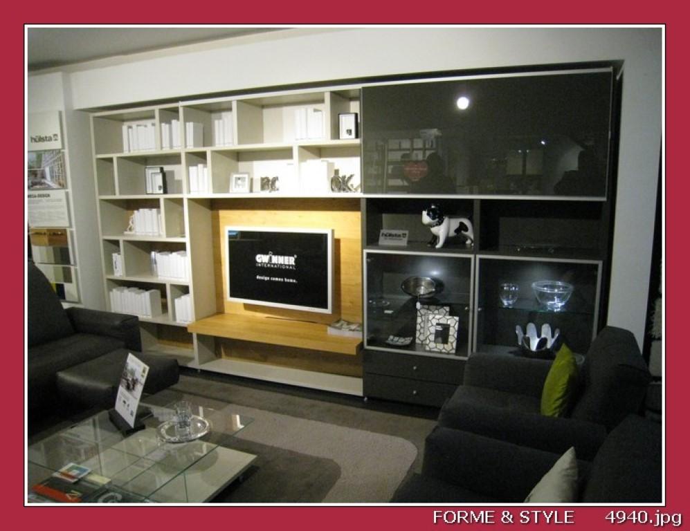 meuble hulsta mega design compose de bibliotheque vitrine element tv et porte coulissante chene laque blanc et gris 404x46x217h