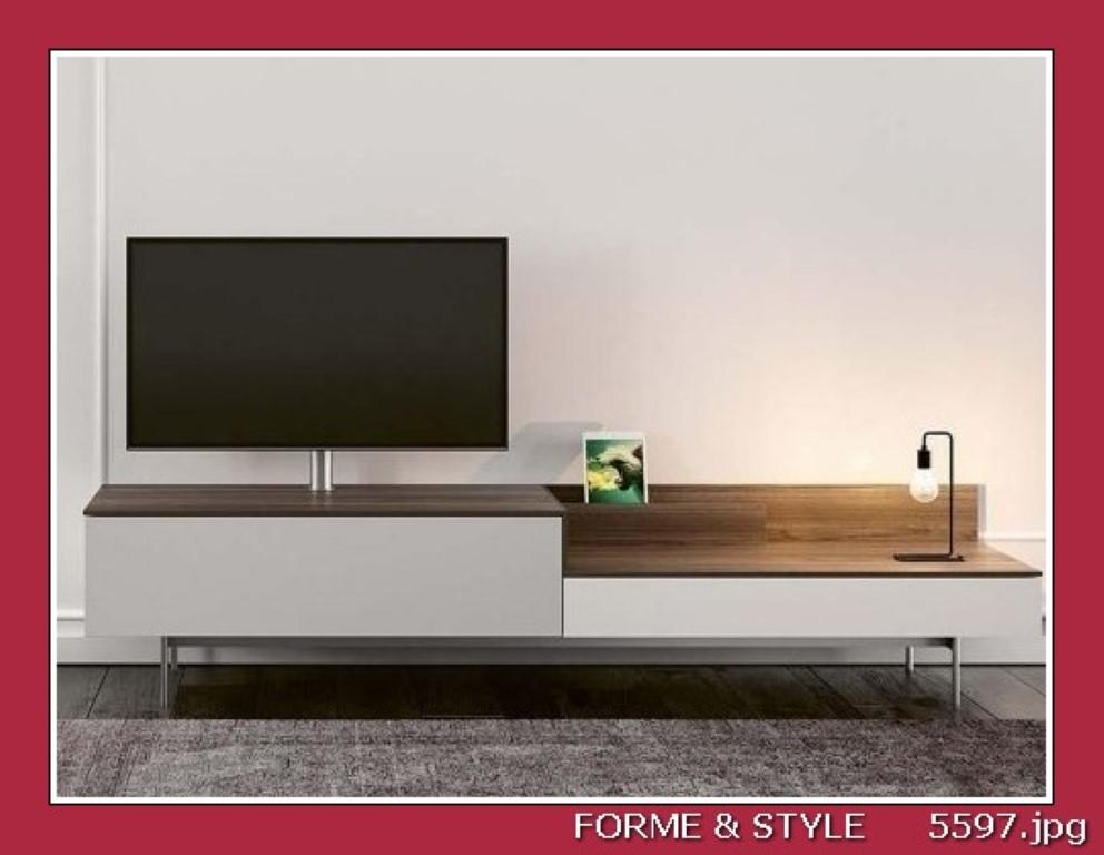 meuble tv spectral next avec colonne tv systeme docking et kit audio laque blanc chene fonce 240 x 48 cm