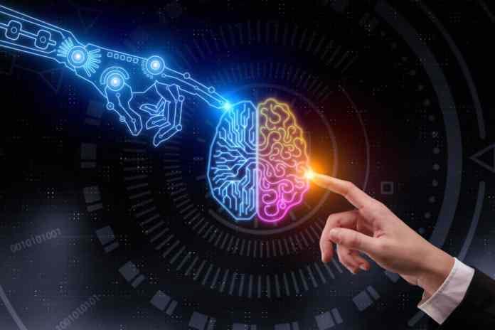 mano artificiale e mano umana che toccano un cervello artificiale