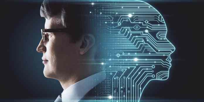 immagine di un volto umano e di uno artificiale