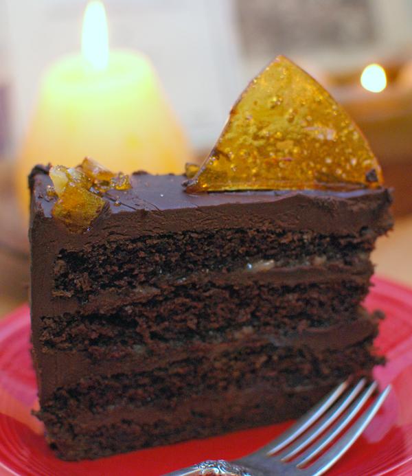 Slice of Chocolate Caramel Cake