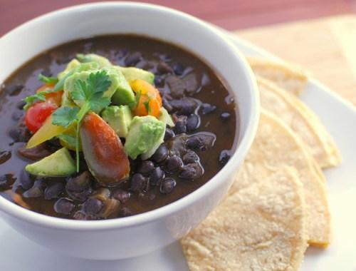 Black Bean Soup with Avocado