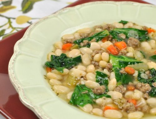 White Bean Soup with Greens and Homemade Italian Sausage