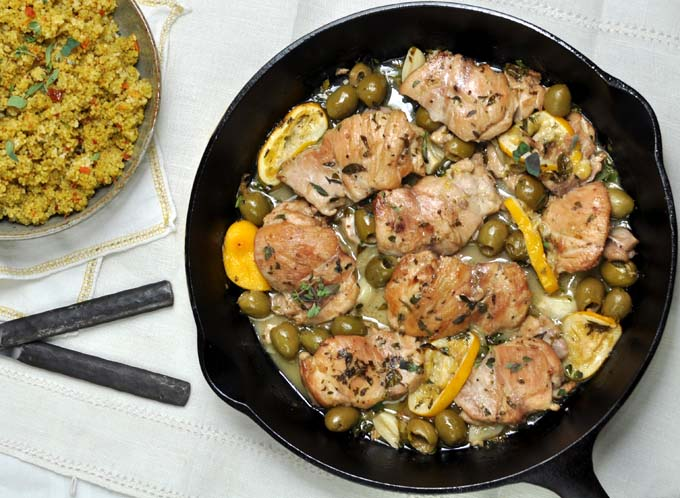 Sherry Braised Chicken Thighs with Meyer Lemons and Green Olives