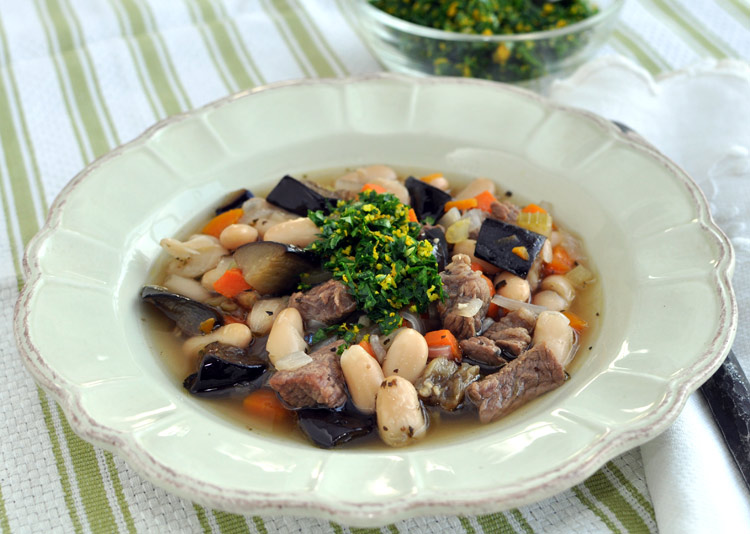 Cannellini Bean Soup with Beef, Roasted Eggplant and Orange Gremolata