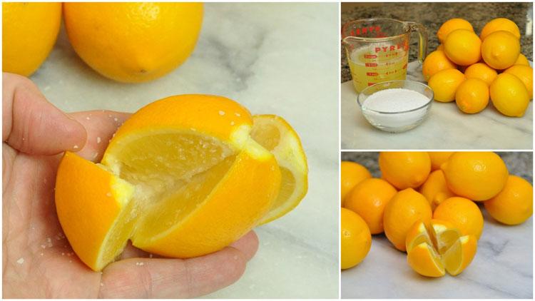 preparing preserved lemons