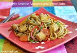 Garlic sesame udon noodles with fried tofu