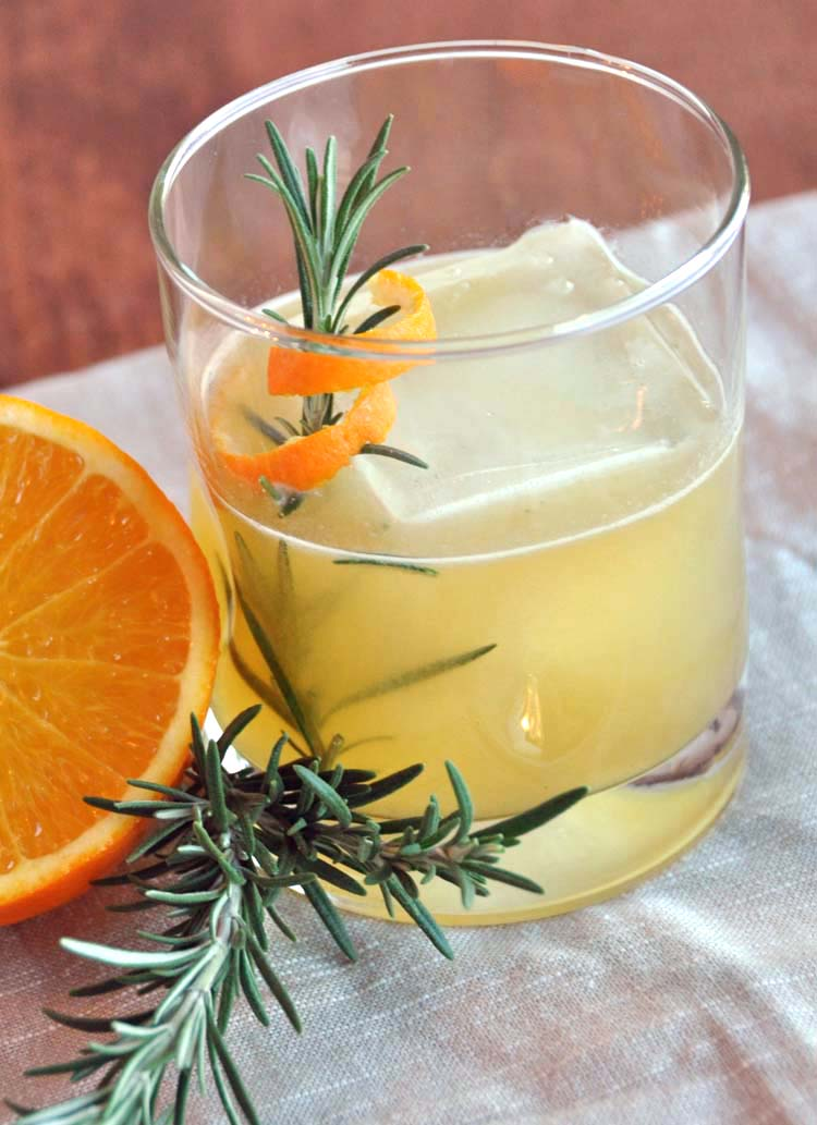 SoCal Sour, a bourbon cocktail with orange and rosemary.