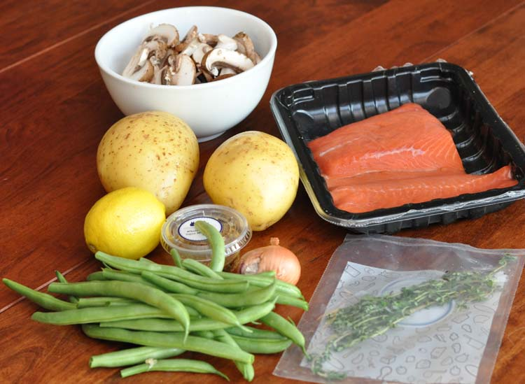 Blue Apron Salmon with Thyme Potatoes and Green Beans
