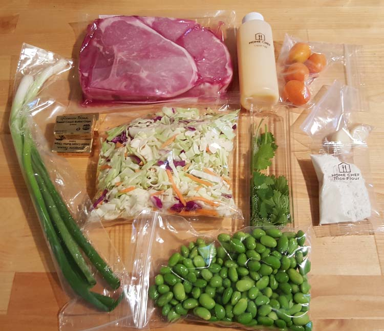 Home Chef Ingredients for Pork Chop with Kumquat Cilantro Butter