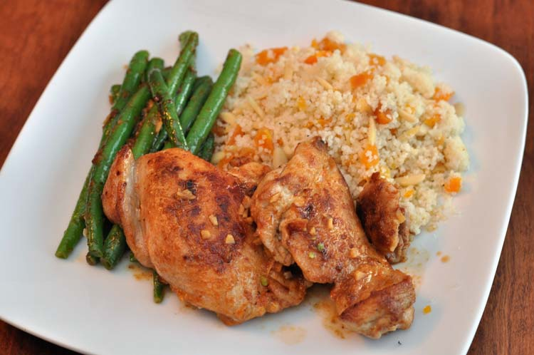 Home Chef Berbere chicken thighs with green beans and cous cous with almonds and apricots.