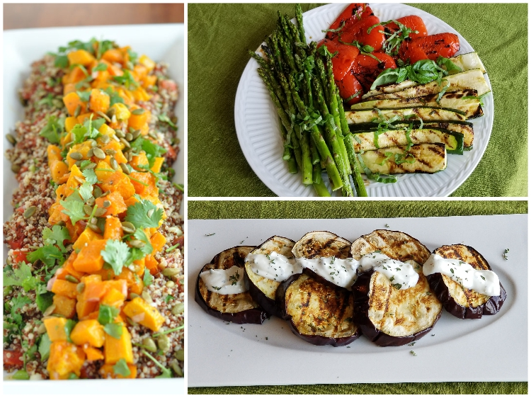 The rest of the meal; butternut squash and quinoa, grilled vegetables, and grilled eggplant with lemon thyme yogurt.