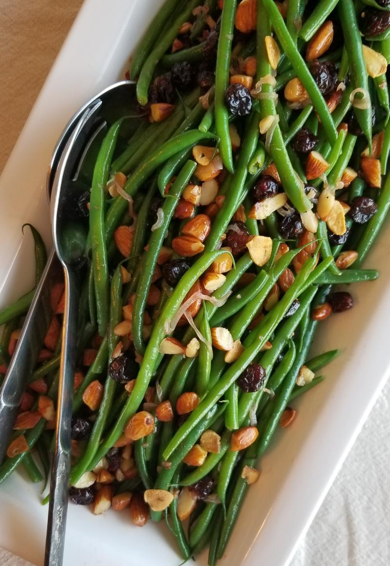 Green Beans with Cranberries, Almonds, and Fried Garlic.