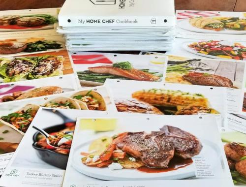 Home Chef recipes spread on a table