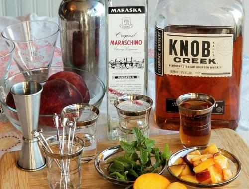 Ingredients for Bourbon Peach Smash