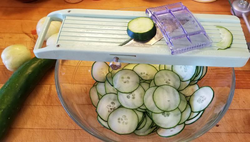 Cucumbers on Mandolin