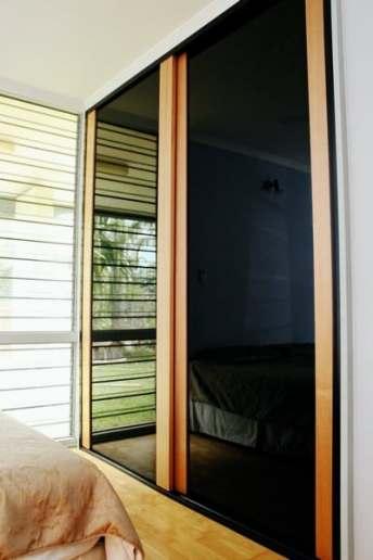Timber Internal Sliding Doors Victorian Ash Timber & Black Glass Panels