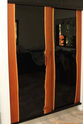 Bloodwood Flitch Sliding Doors in Pantry