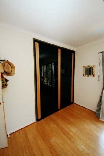 Built In Wardrobe Timber & Black Glass