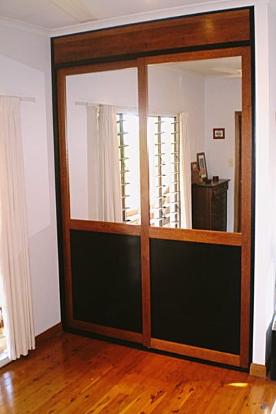 Timber Wardrobe Doors with mesh and glass