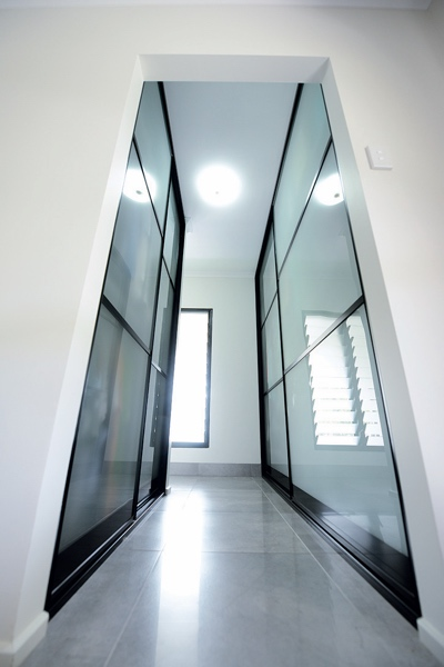 3 Panel Frosted Glass Sliding Doors to ensuite