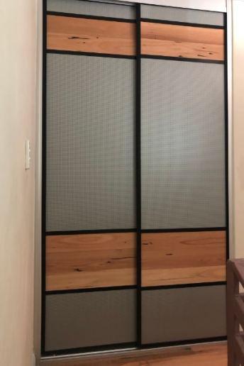 Linen Cupboard Mesh Panels & Floating Timber Floor Boards Full View
