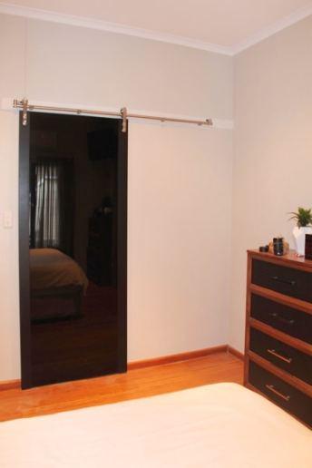 Barn Door Black Glass & Painted Black timber