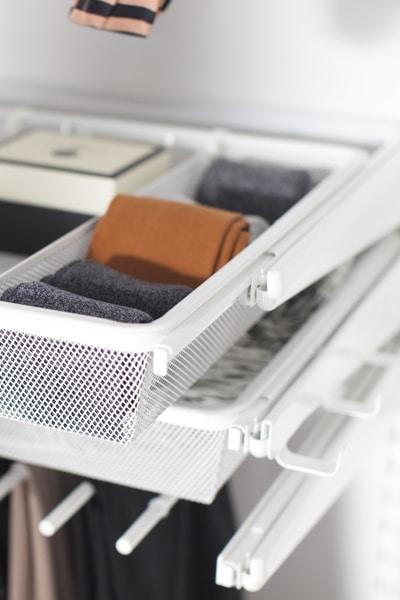 Wardrobe Storage-elfa mesh drawer and dividers