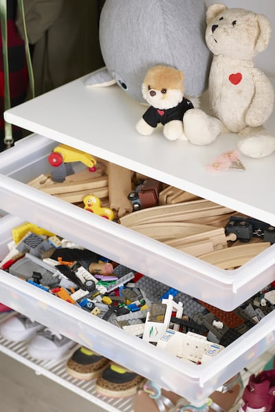 elfa plastic drawers for lego and toys