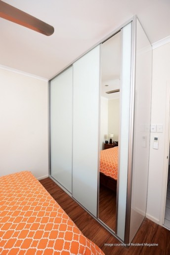 White Glass Wardrobe with insert panel dress mirror