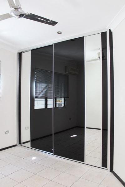 Wardrobe doors black glass 2700 wide
