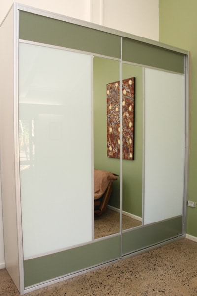 Wardrobe Doors with Olive Green mesh panels and functional mirror