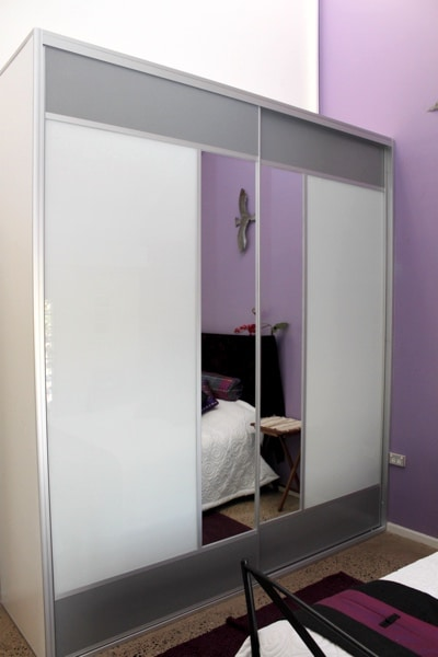 Grey Mesh panels top and bottom wardrobe doors