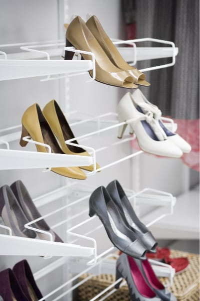 Wardrobe Inserts: elfa gliding shoe racks