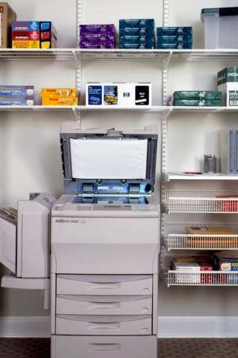 elfa office shelving around photocopier