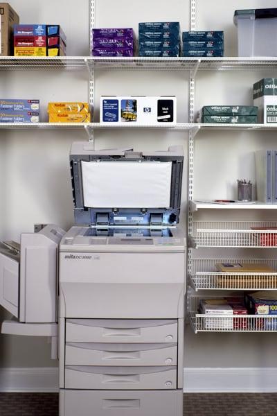 elfa office shelving around photocopier