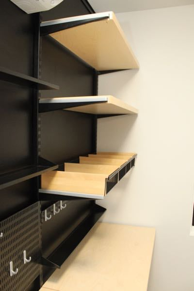 elfa home office shelving powder coated black
