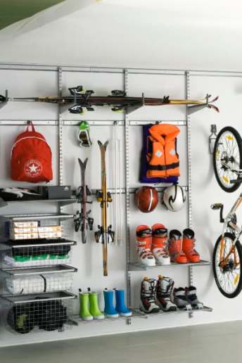 elfa garage storage sporting equipment