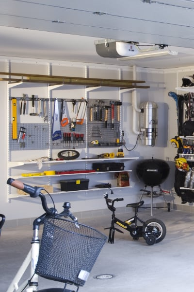 elfa garage tool storage and pegboards