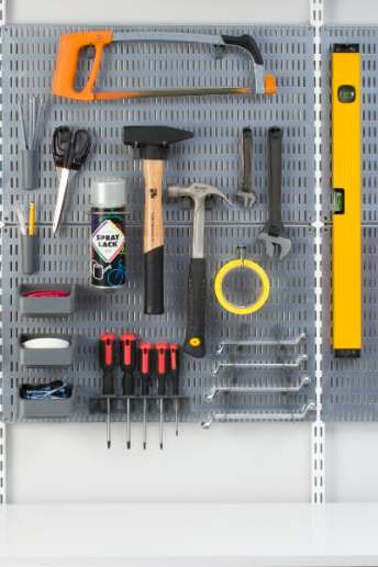 peg board for tool storage