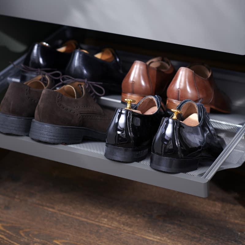 elfa decor grey pull out shoe rack for closet
