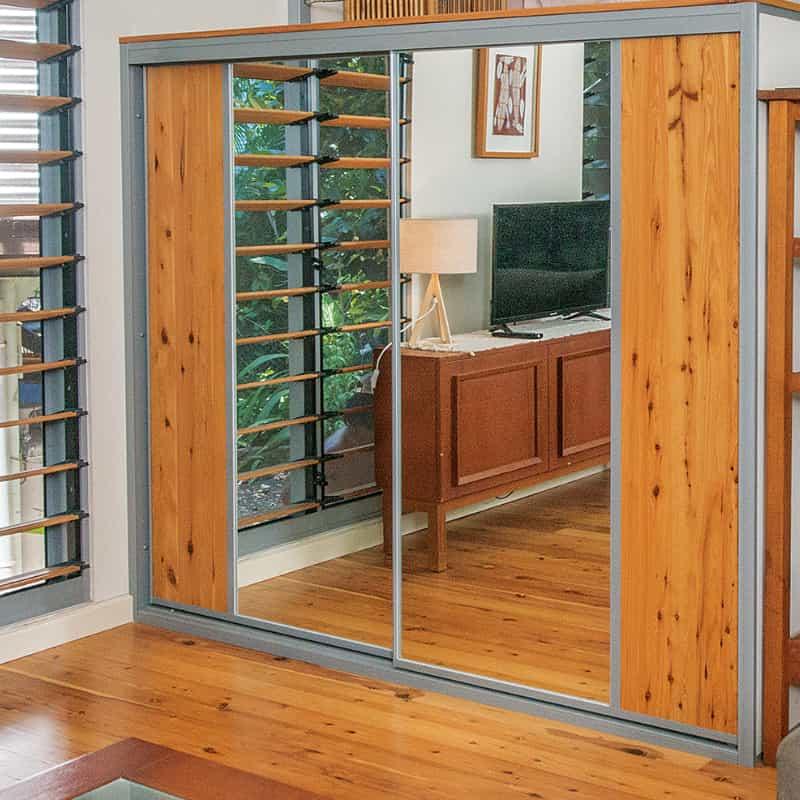 Recycled Cypress Pine Flooring into Sliding Wardrobe Doors