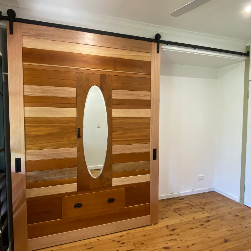 Barn Door Made from Recycled Old Wardrobe