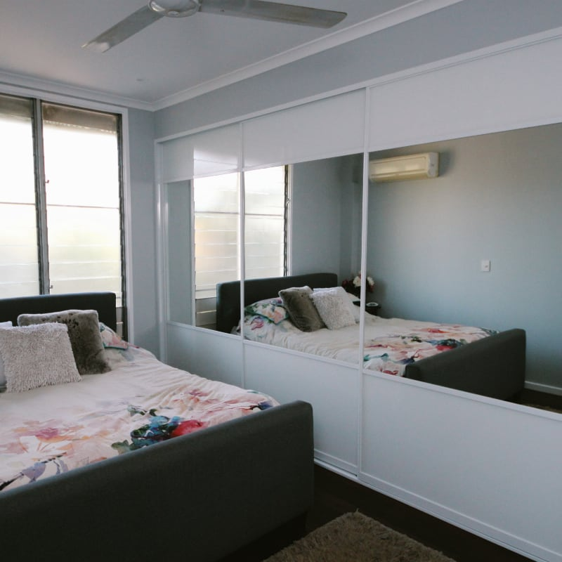 Large Sliding Robes with White Panel & Mirror