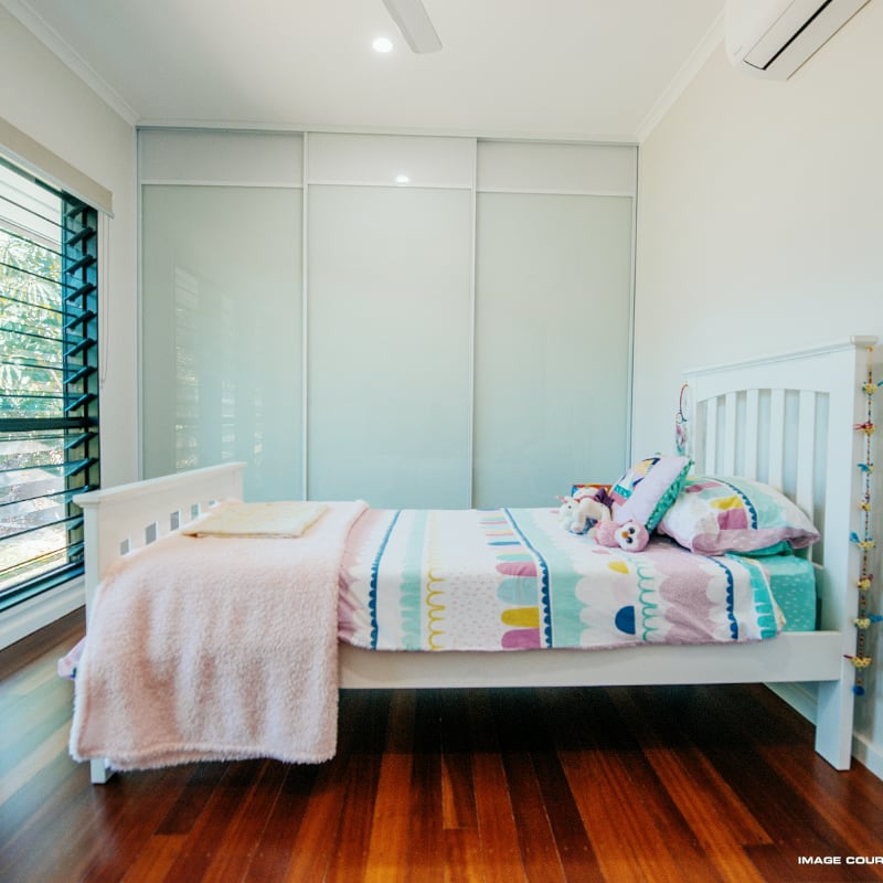 Teenage Girls Bedroom with Glass & Mini Orb Ventilated Mesh Panels Top and Bottom