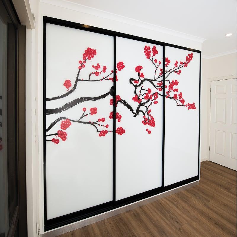 Cherry Blossom Motif on Sliding Closet Doors
