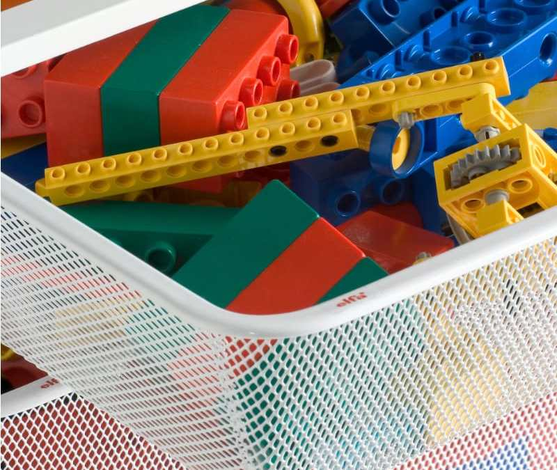 elfa pullout baskets and lego blocks